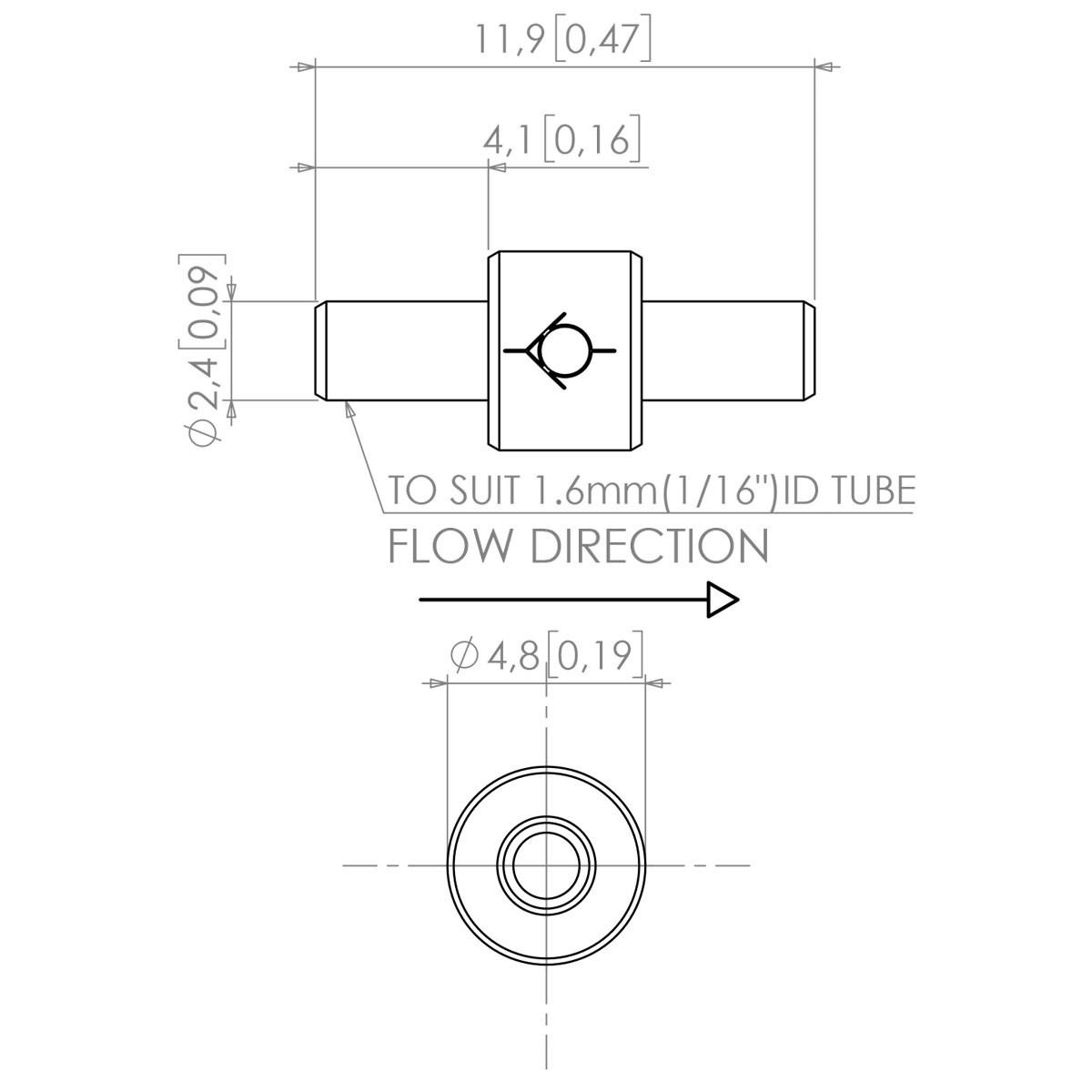 Polypropylene Check Valve 116 Straight Ports Cracking Pressure