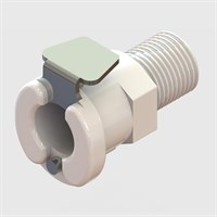 "1/8"" NPT Male Thread Socket, Non-Valved, 1/8"" Flow, Thermoplastic"