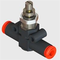Plastic bodied Unidirectional Flow Control Valve, Panel Mount, 4 mm Push to Connect