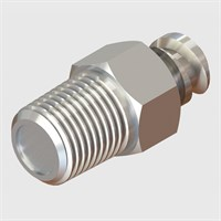 Stainless Steel Luer - Luer to Thread with Shut-Off Valve