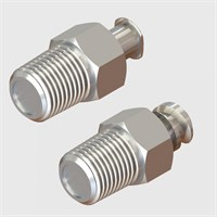 Nickel Plated Brass Luers - Luer to Thread with Shut-Off Valve
